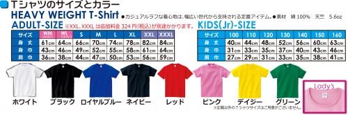 Tシャツサイズ・カラー